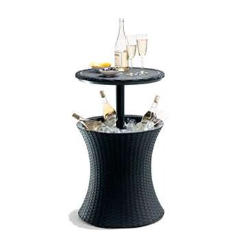 Keter Pacific Rattan Style Outdoor Cool Bar Ice Cooler Table Garden Furniture - Anthracite (H82.5 x W49.5 x D49.5cm)