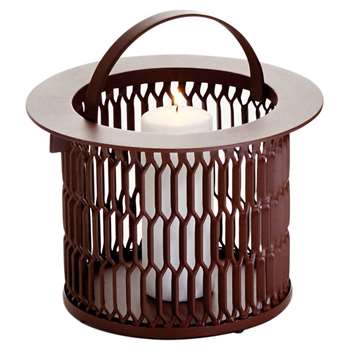 Kettal - Small Mesh Aluminum Candle Holder, Brown (19.5 x 21cm)