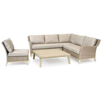 KETTLER Cora 5 Seater Garden Table and Chairs Lounging Corner Set, FSC-Certified (Acacia Wood), Smoke White (H55 x W110 x D110cm)