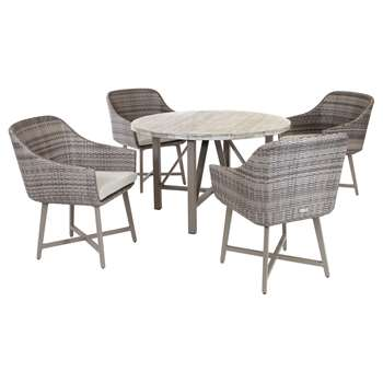KETTLER LaMode 4 Seater Garden Dining Table and Chairs Set, Olive Grey (H72 x W120 x D65cm)