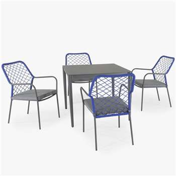 KETTLER Nimes 4-Seater Garden Dining Table & Chairs Set, Blue (H73 x W90 x D90cm)