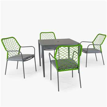 KETTLER Nimes 4-Seater Garden Dining Table & Chairs Set, Green (H73 x W90 x D90cm)