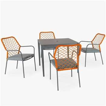 KETTLER Nimes 4-Seater Garden Dining Table & Chairs Set, Orange (H73 x W90 x D90cm)