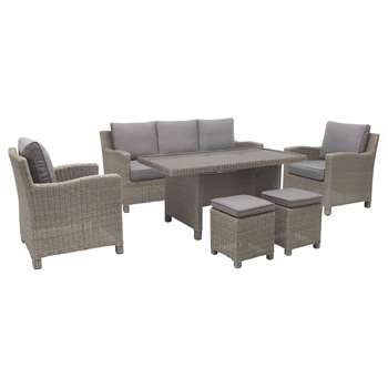 KETTLER Palma 7 Seater Garden Lounge / Dining Table and Chairs Set, Rattan (H85 x W74 x D80cm)