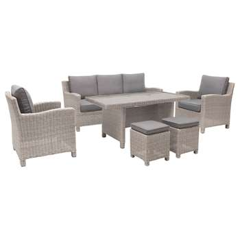 KETTLER Palma 7 Seater Garden Lounge / Dining Table and Chairs Set, Whitewash (H85 x W74 x D80cm)