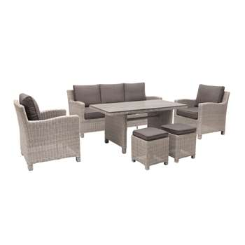 KETTLER Palma 7 Seater Garden Lounging Set, White Wash