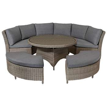 KETTLER Palma 8 Seater Round Garden Dining Table and Chairs Set, Rattan (H68 x W129 x D80cm)