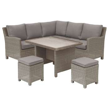 KETTLER Palma Garden Mini Lounge / Dining Set With Glass Top Table, Rattan (H85 x W206.5 x D80cm)