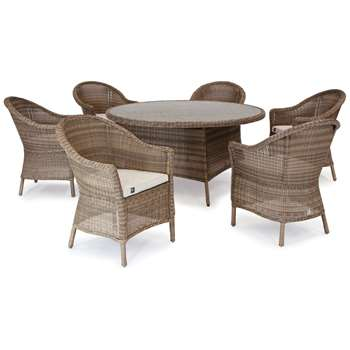 KETTLER RHS Harlow Carr 6 Seater Garden Dining Table and Chairs Set, Natural (H89 x W67 x D69cm)