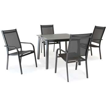 KETTLER Surf 4 Seater Garden Dining Table and Stacking Chairs Set, Grey (H75 x W100 x D100cm)