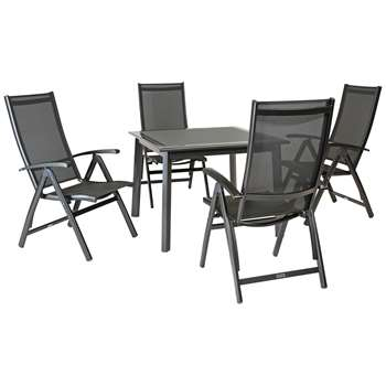 KETTLER Surf 4 Seater Outdoor Multi Position Reclining Chairs and Dining Table Set, Grey (H75 x W100 x D100cm)