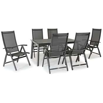 KETTLER Surf 6 Seater Garden Dining Table and Reclining Chairs Set, Grey (H75 x W160 x D100cm)