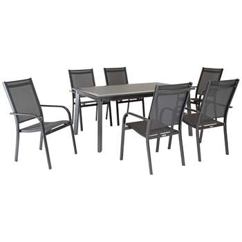 KETTLER Surf 6 Seater Garden Dining Table & Chairs Set (H75 x W160 x D100cm)