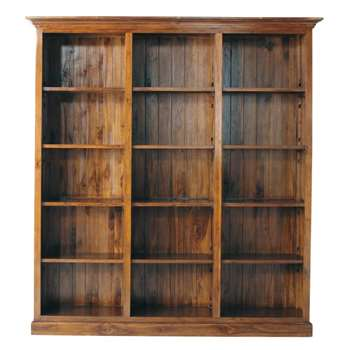 KEY LARGO Stained solid teak bookcase (Width 213cm)