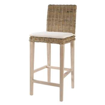 KEY WEST Rattan and solid mahogany bar chair in grey finish (113 x 47cm)