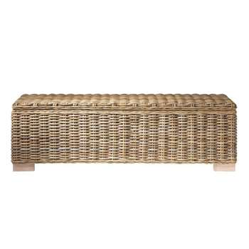KEY WEST Solid Mahogany and Rattan Bed End (H41 x W130 x D46cm)