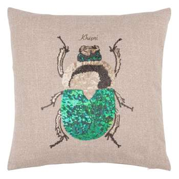 KHEPRI Beige Cushion Cover with Embroidered Insect (H40 x W40cm)