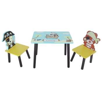 Kiddi Style Bebe Blue Pirate Table & Chair (H50 x W28 x D26cm)