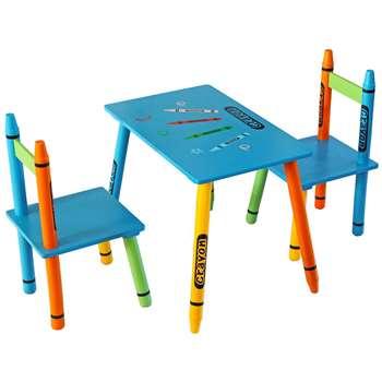 Kiddi Style Blue Crayon Table & Chair (H50 x W28 x D26cm)