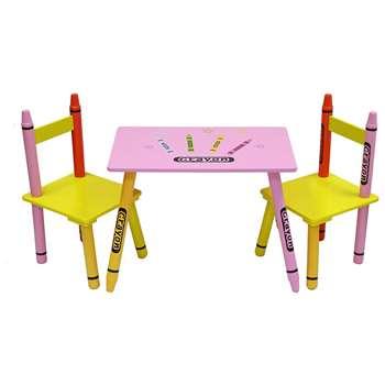 Kiddi Style Pink Crayon Table & Chair Set (H50 x W28 x D26cm)