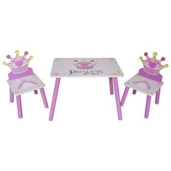 Kiddi Style Princess Table & 2 Chairs (H50 x W28 x D26cm)