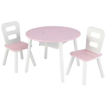 KidKraft Pink & White Round Storage Table & Chair Set (H43.8 x W59.6 x D59.6cm)