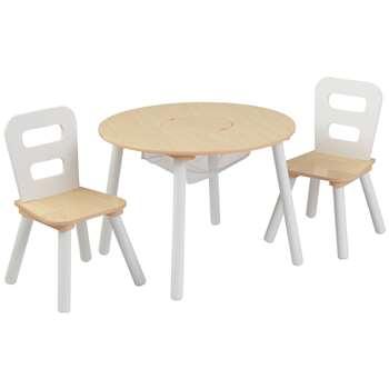 KidKraft White Round Storage Table & Chair Set (H43.8 x W59.6 x D59.6cm)