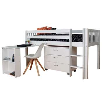 Kids Avenue Caddy Single 90cm 3ft Mid Sleeper Bed Frame + Desk + 3 Drawer Chest Wooden White (H118 x W106 x D210cm)