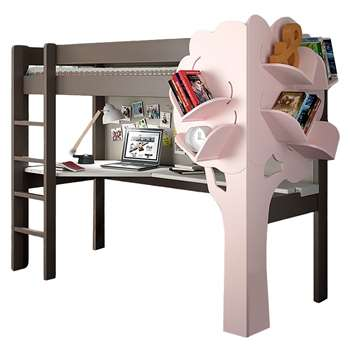 Mathy by Bols Dominique High Sleeper Bed with Desk & Bookcase (H172 x W104 x D209cm)