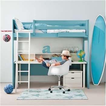 Kids Loft Bed with Desk & Drawers 163 x 100cm