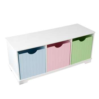 Kids Nantucket Storage Bench in Pastel 39 x 99cm