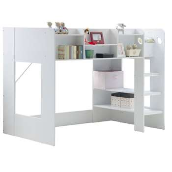 Kids Wizard High Sleeper Bed in White (145.5 x 196.6cm)