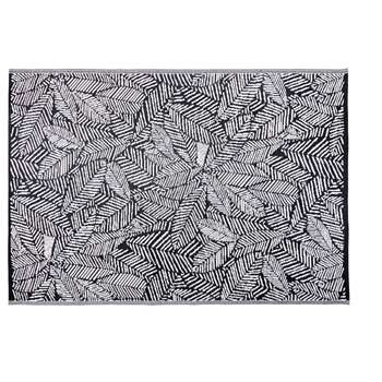 KIGANJA Black Outdoor Rug with White Leaf Print (H180 x W270cm)