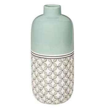 KILALI Green Patterned Ceramic Vase (30 x 14cm)