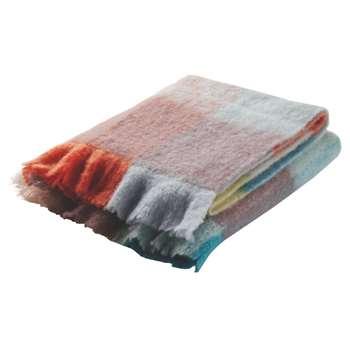 Kilburn Multi-Coloured Check Wool-Blend Throw - 130 x 170cm