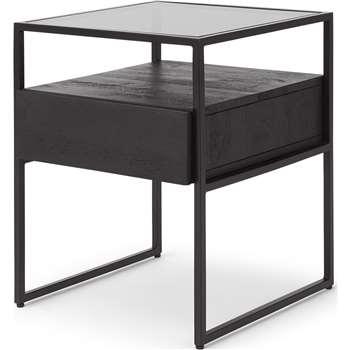 Kilby Bedside Table, Black Stain Mango Wood (H54 x W43 x D43cm)