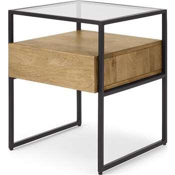 Kilby Bedside Table, Light Mango Wood & Black (H54 x W43 x D43cm)