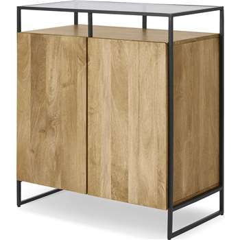 Kilby Compact Sideboard, Light Mango Wood and Glass (H98 x W85 x D45cm)