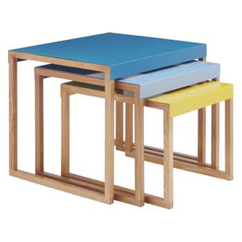 Habitat Kilo Blue And Yellow Metal Nest Of 3 Side Tables (H40 x W50 x D42cm)