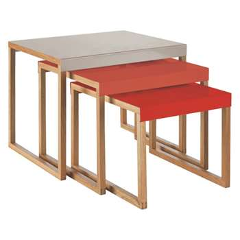 Habitat Kilo Red And Grey Metal Nest Of 3 Side Tables (H40 x W50 x D42cm)