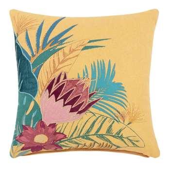 KIM Yellow Tropical Print Cotton Cushion Cover (H40 x W40cm)