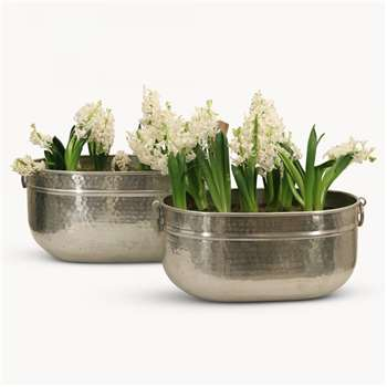 Kimberley Set of 2 Aluminium Hammered Planters (H35 x W52 x D34cm)