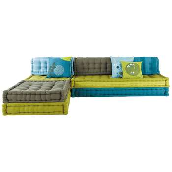 KIMIMOI 6 seater cotton modular corner day bed in blue and green (82 x 295cm)