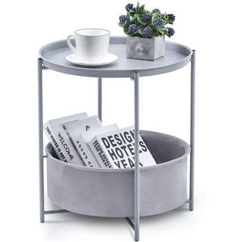 Kingrack Table with Detachable Tray Top and Fabric Storage Basket, Light Grey (H48 x W45 x D45cm)