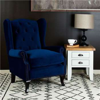Kingsbury Winged Accent Chair - Royal Blue (H106 x W85 x D96cm)