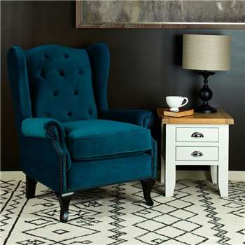 Kingsbury Winged Accent Chair - Sea Green (H106 x W85 x D96cm)