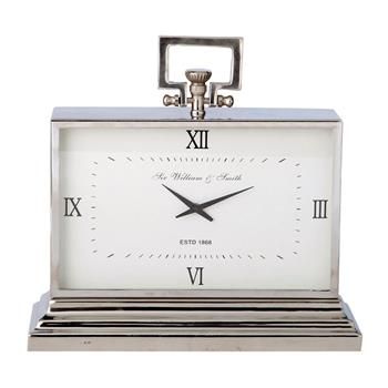 KINGSTON metal freestanding clock in chrome (45 x 47cm)