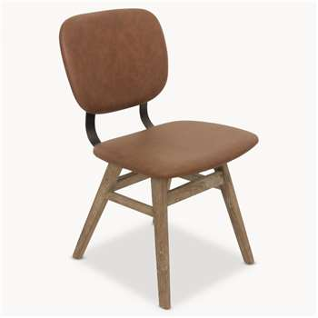 Kingswood Faux Leather and Oak Dining Chair (82 x 47cm)