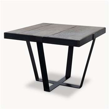 Kingswood Oak and Metal Side Table (H45 x W60 x D60cm)