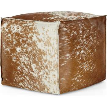Kirby Square Pouffe, Cowhide Leather (H40 x W45 x D45cm)